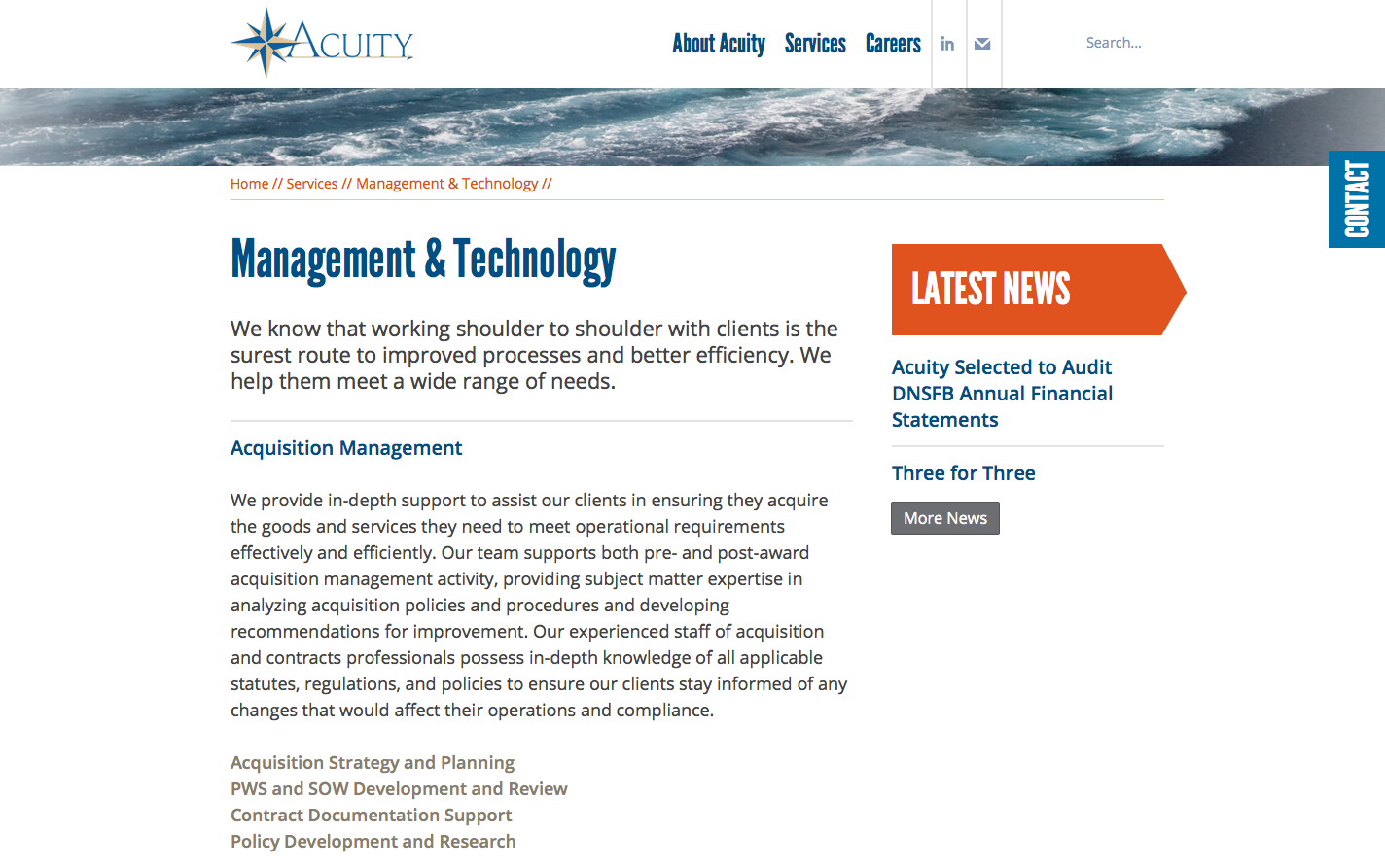 Acuity Consulting website subpage